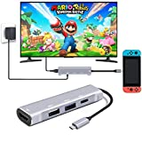 HDMI USB Type C Hub Multiport Adapter for Nintendo Switch, USB-C Hub 4K with USB 3.0 USB 2.0 Portable Dock for Nintendo Switch, Samsung S8 / S9+(Plus) Dex Station, 2016 / 2017 Macbook Pro - Silver