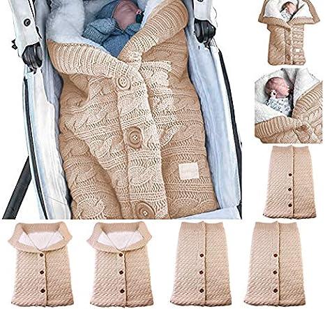 Manta cambiador para bebés recién nacidos, gruesa y cálida, manta de punto más terciopelo, saco de dormir de forro polar para bebé o niño beige beige