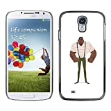 LASTONE PHONE CASE / Slim Protector Hard Shell Cover Case for Samsung Galaxy S4 I9500 / Muscle Man Black Strong Art Painting Suspenders