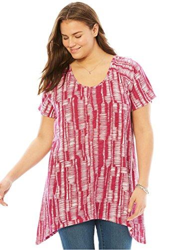 Women's Plus Size Top in Print Slub Knit with Hanky Hem Raspberry Horizontal