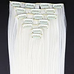 "Miss U Hair 24""/60cm 130g 7pcs/set Women Long Straight Synthetic Hair Full Head Clip in Hair Extensions Pieces (60# Platinum Blonde)"