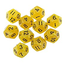 10pcs Twelve Sided Dice D12 Playing D&D RPG Party Games Dices Yellow