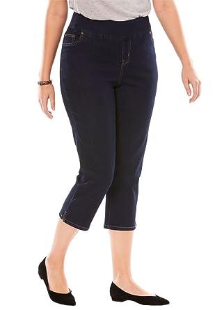 fd7961bf36f Woman Within Plus Size Petite Smooth Waist Capri Jean at Amazon ...
