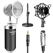 Neewer NW-1500 Desktop Broadcast & Recording Condenser Microphone with Audio Cable Bundle with Desktop 4.7-7.5- Inch Mic Stand, Metal Shock Mount and Mic Wind Screen Filter Shied