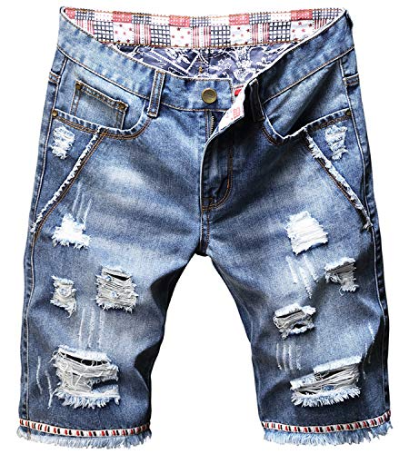 Men's Fashion Ripped Jeans Shorts Distressed Straight Fit Denim Shorts with Holes, 781, US 28 = Tag 30 ()