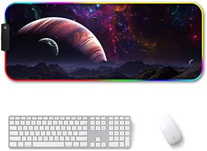 """Amazer-T RGB Gaming Mouse Pad, Large Cool RGB Gaming Mouse Mat with Nylon Thread Stitched Edges & Smoothly Waterproof Non-Slip Rubber Base (31.5""""X 11.8"""")"""