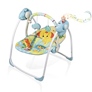 Soothing Portable Swing,Comfort Electric Baby Rocking Chair with Intelligent Music Vibration Box That Can Be Used from The Beginning of The Newborn (Blue)