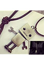Qi Tian Vintage Simple Robot Shape Leather Long Chain Statement Locklet Necklace with Antiqued Bronze/Brass Finish Unique Jewelry