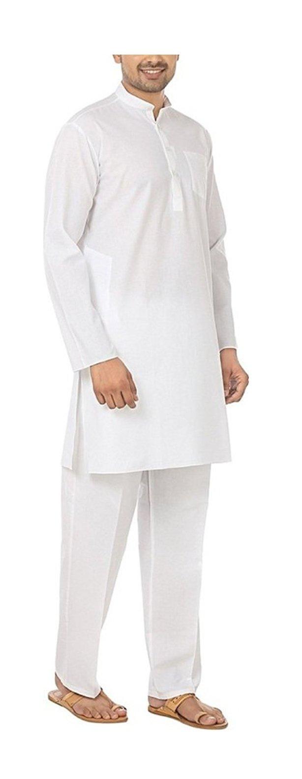 Royal Kurta Men's Fine Cotton Kurta Pyjama Set 46 White by Royal Kurta (Image #3)