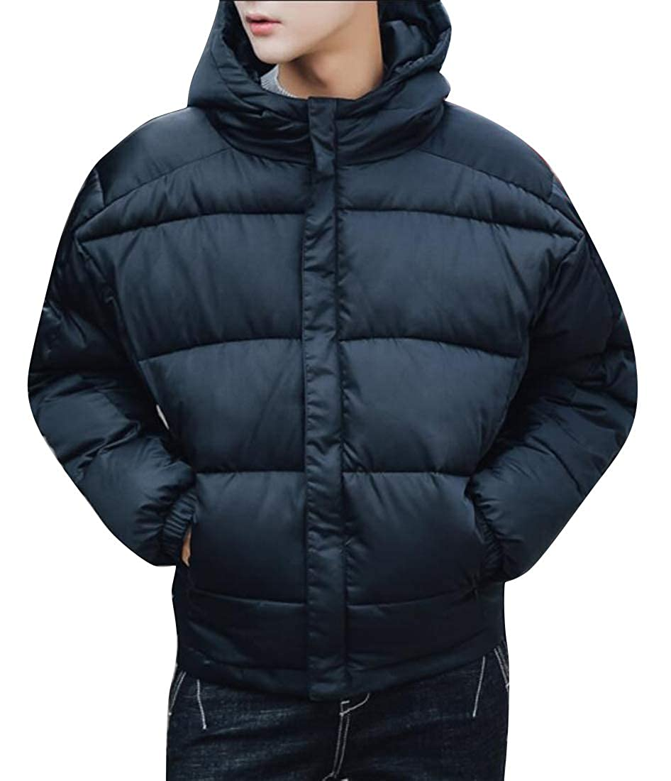 FSSE Men Solid Thickened Loose Winter Hooded Down Quilted Coat Jacket Outerwear