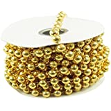 Firefly Imports MOT Pearls Plastic Beads Garland Ribbon, Gold, 8mm by 8-Yard