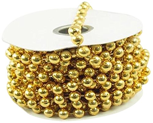 Homeford MOT Pearls Plastic Beads Garland Ribbon, Gold, 8mm by - Chandelier Own Your Making