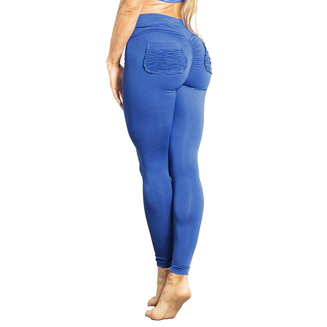 Pantalon de yoga pantalons de survêtement pour Femmes, Toamen Taille haute Pantalon de sport extensible Gym Pantalon Couleur pure Aptitude poche Mode (S, Bleu)