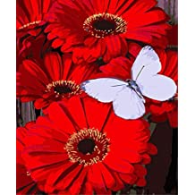 ABEUTY DIY Paint by Numbers for Adults Beginner - Butterfly and Safflower 16x20 inches Number Painting Anti Stress Toys (Wooden Framed)