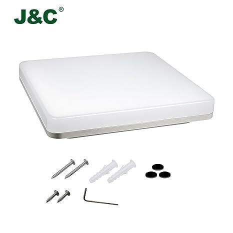 Plafones,J&C® 18W IP44 Plafón baño LED Iluminación de techo 1550LM Lámpara LED,in pc material Resistente humedad y resistente corrosión,blanco natural ...