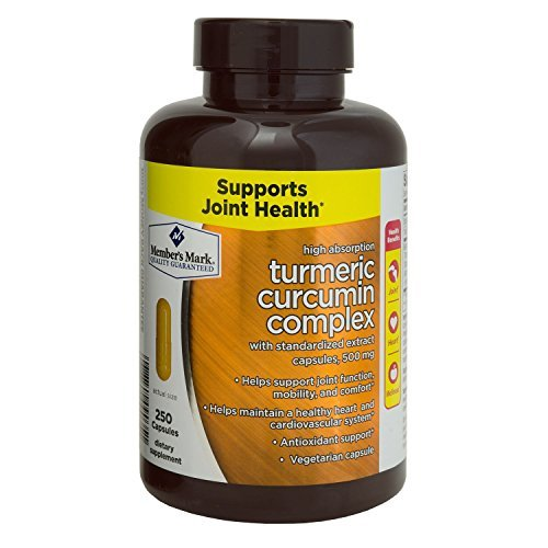 Member's Mark High Absorption Turmeric Curcumin Complex with Standardized Extract Capsules, 500mg (1 bottle (250 capsules))