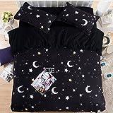 HIGOGOGO Home Textiles Cotton Black Duvet Cover Set 5Pcs,Moon and Stars Myth Sheet Set Twin Full Queen Size (Queen)