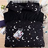 HIGOGOGO Home Textiles Cotton Black Duvet Cover Set 5Pcs,Moon and Stars Myth Sheet Set Twin Full Queen Size (Queen)