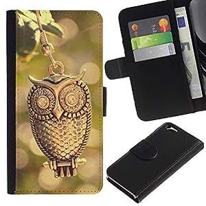 EJOY---La carpeta del tirón la caja de cuero de alta calidad de la PU Caso protector / Apple Iphone 6 / --Diseño del búho del oro