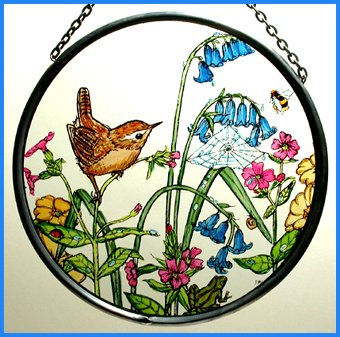 Decorative Hand Painted Stained Glass Window Sun Catcher/Roundel in a Wren in Bluebells Design. ()
