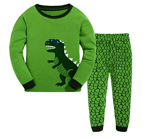 GSVIBK Boy Pajamas Kids Cotton 2 Piece Sleepwear Long Sleeve Pajama Set Toddler Pajamas Truck Dinosaur