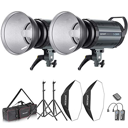 Neewer 600W Photo Studio Strobe Flash and Softbox Lighting Kit: (2)300W Monolight Flash(S-300N),(2)Reflector Bowens Mount,(2)Light Stand,(2)Softbox,(2)Modeling Lamp,(1)RT-16 Wireless Trigger,(1)Bag (Camera Lighting Kit Strobe)