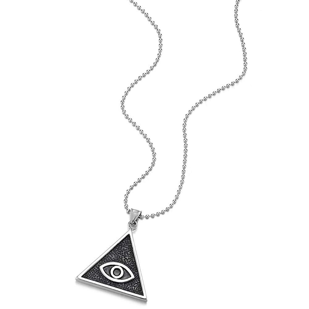iMETACLII B/ösen Blick Dreieck Medaille Anh/änger Edelstahlkette f/ür Herren Damen mit Schwarzer Emaille 75cm Stahl Kugelkette