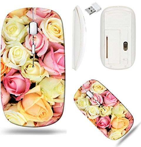 (Liili Wireless Mouse White Base Travel 2.4G Wireless Mice with USB Receiver, Click with 1000 DPI for notebook, pc, laptop, computer, mac book Pastel roses in various colors in a mixed wedding arrangem)