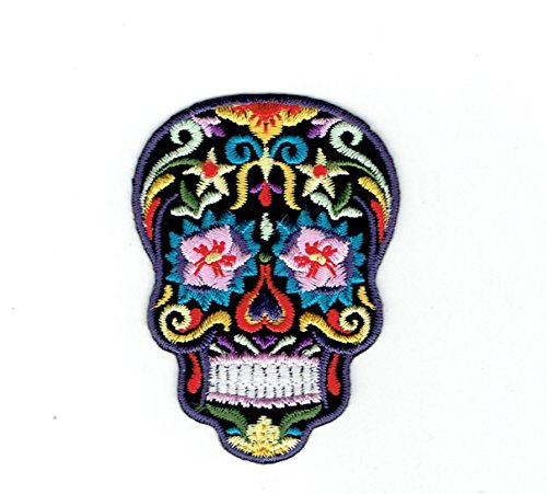 black-sugar-skull-pink-flower-eyes-day-of-the-dead-dia-de-los-muertos-iron-on-embroidered-patch