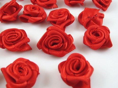 60pcs Satin Ribbon Flower Rose/trim/sewing (Red)