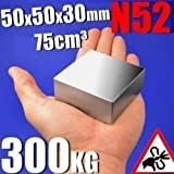 AOMAG® 500 Pound Pull Large Block Neodymium Magnets N52 50x50x30mm Strong Square Rare Earth Lifting Magnets