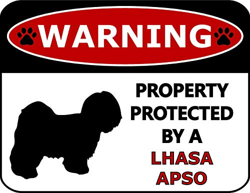 - Top Shelf Novelties Warning Property Protected by A Lhasa Apso (Silhouette) Laminated Dog Sign SP379 (Includes Bonus I Love My Dog Decal)
