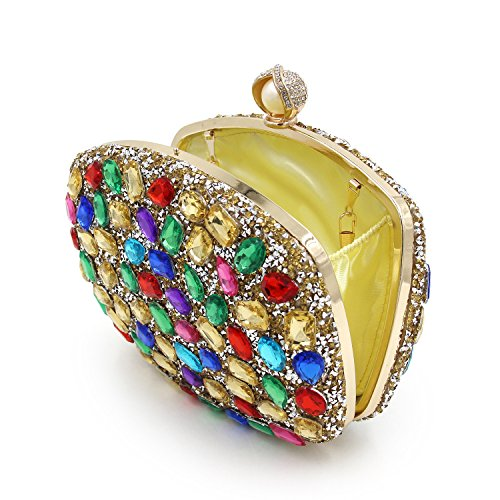 Flada Color Chain for Evening Dazzling Colorful Diamante Party and Women Bags Purses Gold Clutches S1rSqw