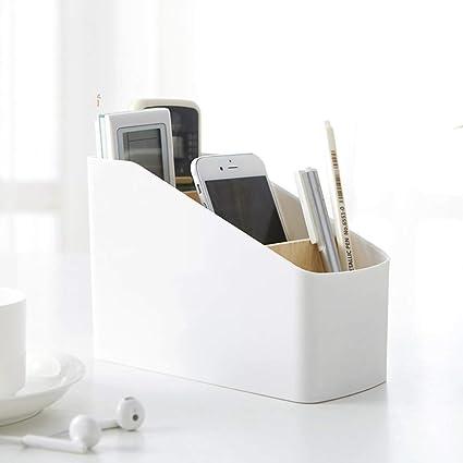 ACHICOO - Caja de almacenamiento extraíble de madera con particiones para mando a distancia de TV: Amazon.es: Oficina y papelería