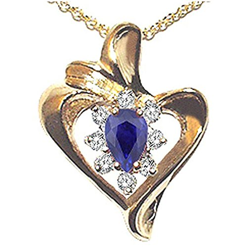 Pear Shape 6x4mm Genuine Sapphire Heart Shaped Pendant 14kt