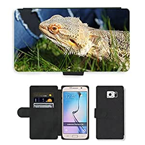 CARD POCKET BOOK CASE PU LEATHER CASE // M00105893 Barbudo reptil Lagarto de dragón // Samsung Galaxy S6 (Not Fits S6 EDGE)