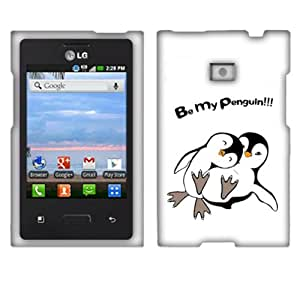 Fincibo (TM) LG Optimus Logic L35g Dynamic L38c Protector Hard Plastic Snap On Cover Case - Be My Penguin, Front And Back