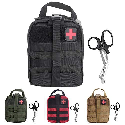 (Compact Tactical MOLLE Rip-Away EMT Medical First Aid Utility Pouch 1000D Nylon Carlebben (1 Black with First Aid)