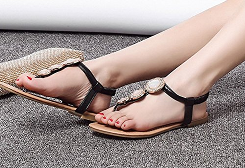 LvRao Muier Sandalias Verano Zapatos Peep-dedo del pie Zapatos Bajos Sandalias Perla Negro #2