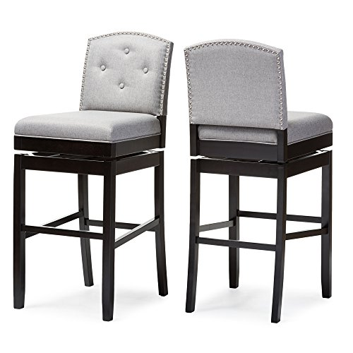Baxton Studio Ginaro Modern & Contemporary Fabric Button-Tufted Upholstered Swivel Bar Stool (Set of 2), Grey (Swivel Upholstered Stool)