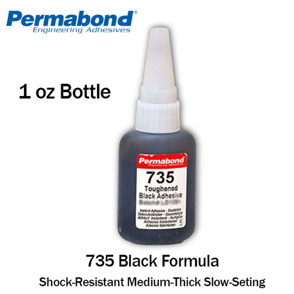 Permabond 735 (1oz Bottle) Instant Adhesive-Black Magic Toughened & Flexible Slow-Set-Gap Filling
