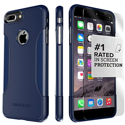 iPhone 8 Plus and 7 Plus Case, SaharaCase Protective Kit Bundled with [ZeroDamage Tempered Glass Screen Protector] Rugged Slim Fit Shockproof Bumper [Hard PC Back] Protection – Blue Navy by Sahara Case