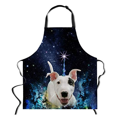HUGS IDEA Bull Terrier Aprons 3D Animal Galaxy Apron for Cooking Baking Kitchen