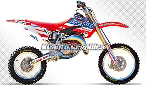 Kungfu Graphics US Flag Custom Decal Kit for Honda CR85 2003 2004 2005 2006 2007 2008 2009 2010 2011 2012 2013, Blue White - Graphic Honda Replica