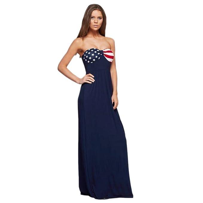 Women Summer Long Maxi Dress Beach Dresses American Flag Sundress ...