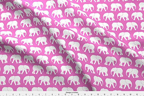 - Spoonflower Pink Elephants Walking Preppy Fabric - Pink Pink Bubble Gum Pink Elephant Baby Girl Elephants Little Arrow Safari by Littlearrowdesign Printed on Satin Fabric by The Yard