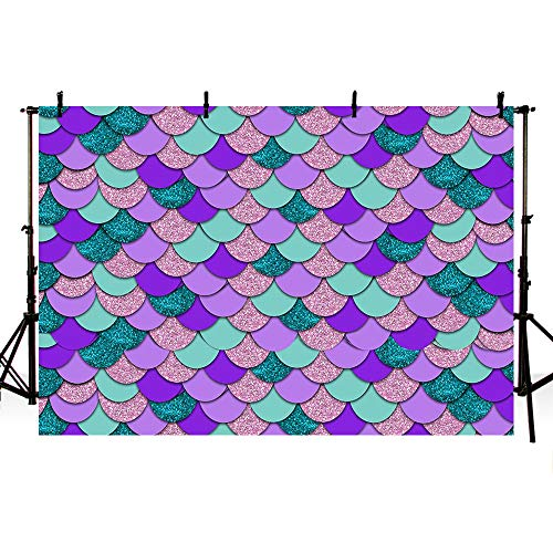 MEHOFOTO 7x5ft Mermaid Pool Photography Backdrop Under The Sea Girl Princess Birthday Party Decoration Shell Ocean Theme Baby Shower Purple Pink Teal Sparkle Photo Studio Booth Background Banner]()