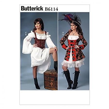 Butterick Ladies Sewing Pattern 6114 Pirates Fancy Dress Costume  sc 1 st  Amazon UK & Butterick Ladies Sewing Pattern 6114 Pirates Fancy Dress Costume ...