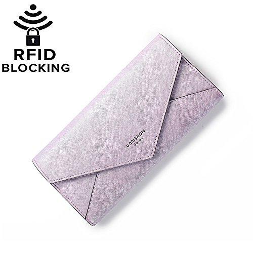 Womens PU Saffiano Leather Envelope Long Clutch Wallet Large Capacity Card Holder Cash Coin Checkbook Organizer Buckle Snap Travel Purse Handbag (Purple) ()