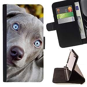 Momo Phone Case / Flip Funda de Cuero Case Cover - Azul del perro de Vizsla Weimaraner Cachorro; - Samsung Galaxy Note 5 5th N9200